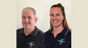 Merged pictures of Peter Mitchell and Alita White, physiotherapists at healthy bodies physiotherapy