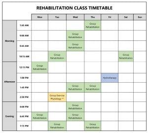 Rehabilitation Class Timetable