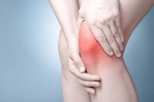 A graphical image showing the pain point of a knee highlighted in red colour