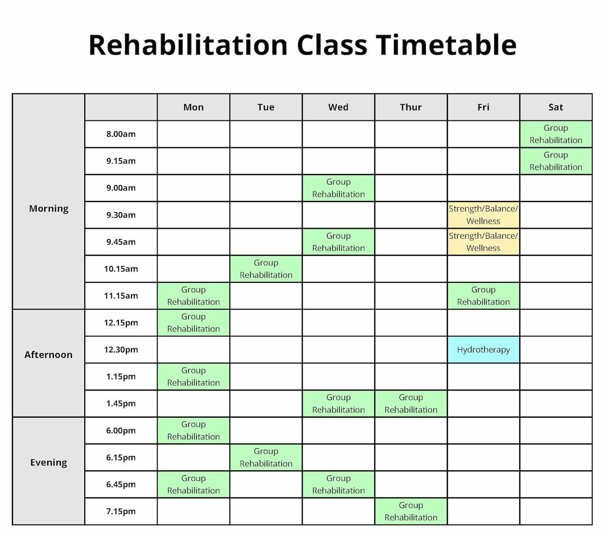 Rehab Class Timetable 2019
